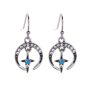 Moon Cross Crystal Vintage Silver Hook Earrings